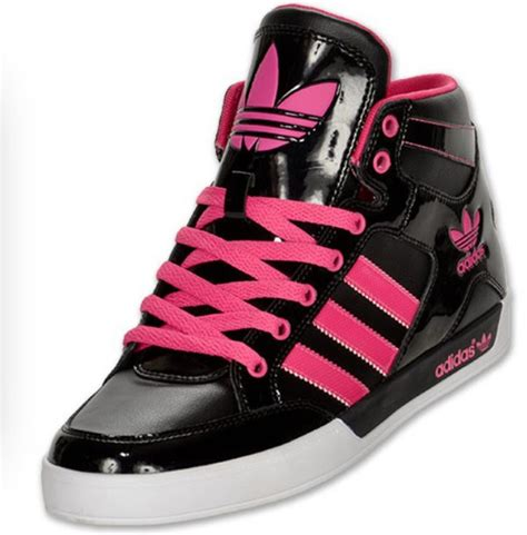 shoes adidas shoes black shoes neon pink shoes high tops wheretoget