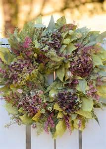 chartreuse eucalyptus and purple hydrangea wreath spring