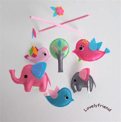Handmade Nursery Mobiles - baby mobile nursery mobile baby pink elephant handmade
