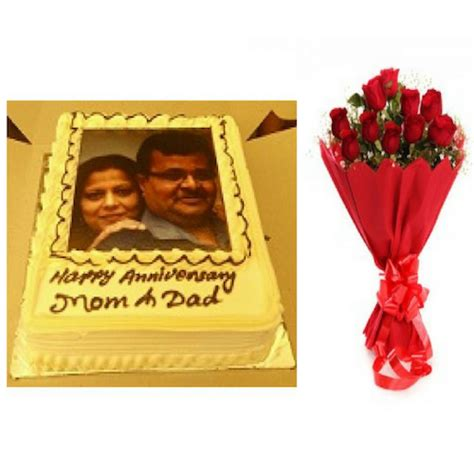 Wedding Anniversary Gift Delivery by Personalized Wedding Anniversary Cake Flowers Combo