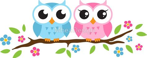 Wall Stickers Birds quot cute blue and pink owl sitting on a branch sticker