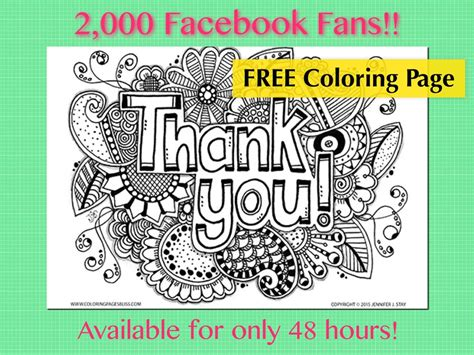 coloring pages bliss facebook free thank you coloring page