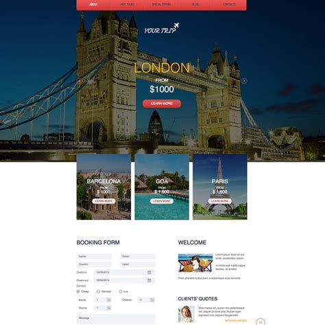 Travel Agency Free Responsive Website Template Free Travel Agency Website Templates