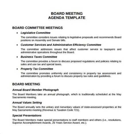 board meeting agenda template sle board meeting agenda template 11 free documents