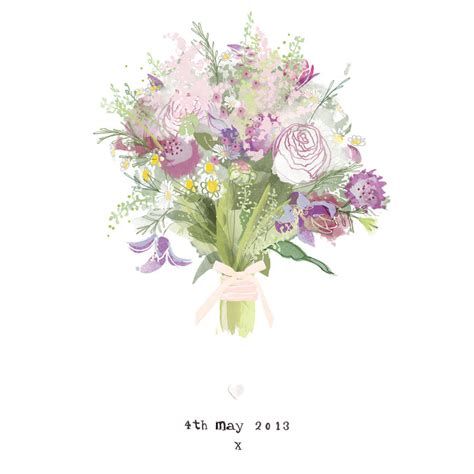Wedding Bouquet Illustration by Personalised Bridal Wedding Bouquet Illustrated Print By