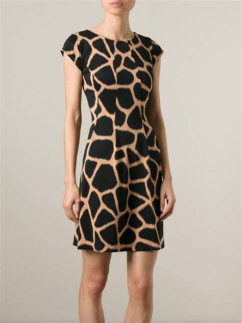 Dress Giraffe lyst michael michael kors giraffe print dress in black