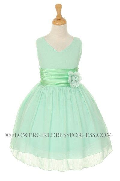 Girls dress style 5720 mint crepe dress with charmeuse waist sash