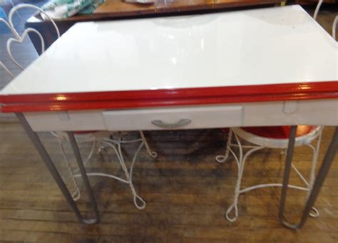 vintage chrome porcelain enamel top kitchen table w drawer