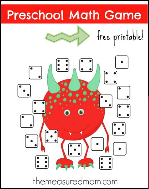 printable preschool games free free preschool math game monster dice match preschool