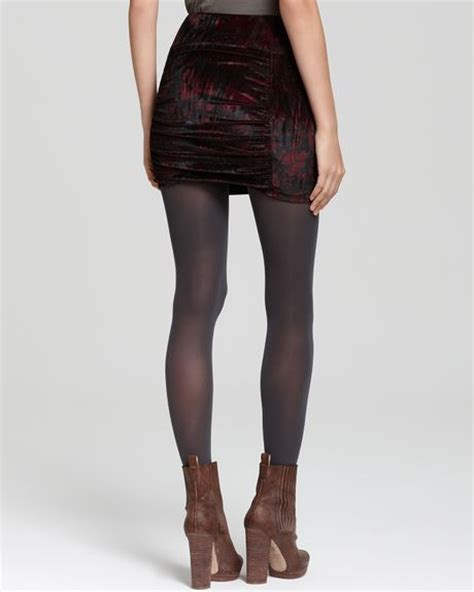 free printed crushed velvet mini pencil skirt in