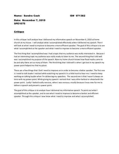 Exles Of Critique Essays by Free Speech Critique Essay Exle Essays