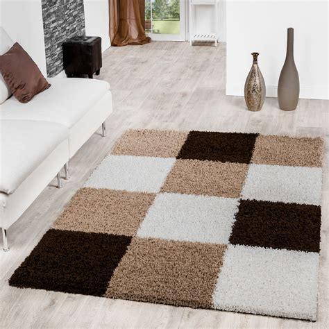teppich hochflor braun moderner hochflor teppich karo muster shaggy zottel