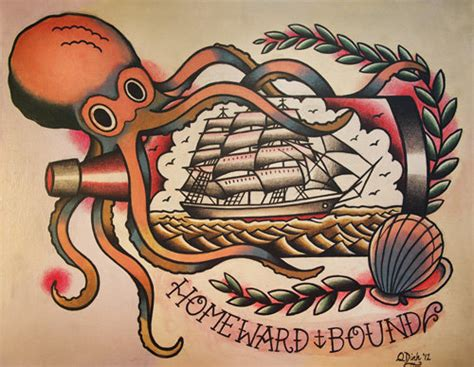tattoo old school signification items similar to octopus and ship in a bottle old school