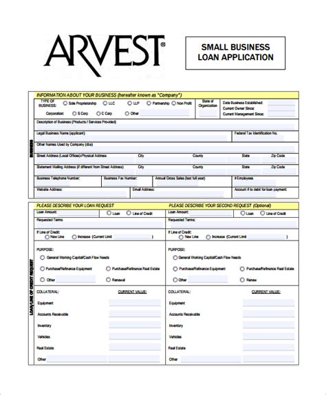 business loan application template sle business application form 7 free dcouments
