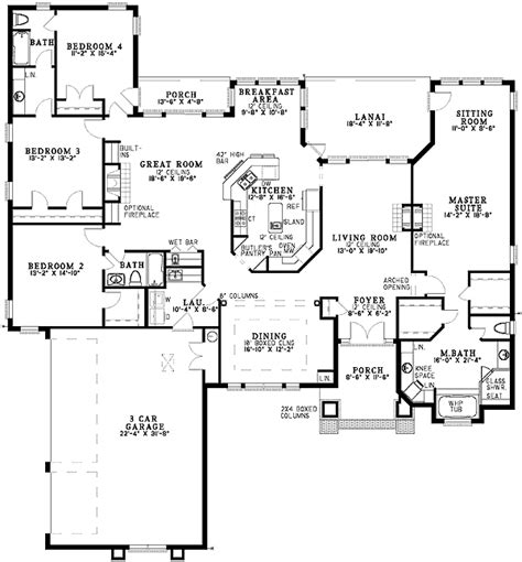 Plan 59128nd Sprawling Four Bedroom 4 Bedroom House Ranch House Plans With Formal Living Room
