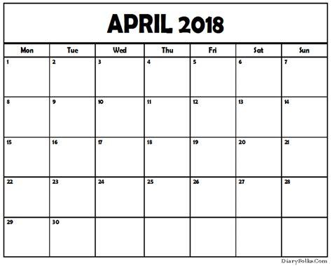 April Calendar Printable Pdf April 2018 Pdf Calendar Printable