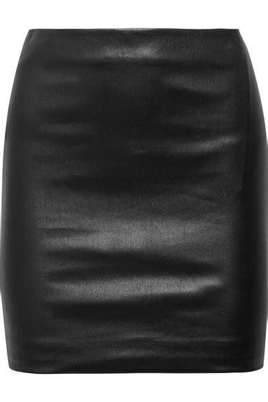 the row loattan stretch leather mini skirt in black modesens