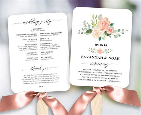 diy wedding program fans blush floral wedding program fan template printable