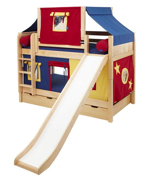 Maxtrix Playhouse Tent Bunk Bed W Slide Panel Red Blue