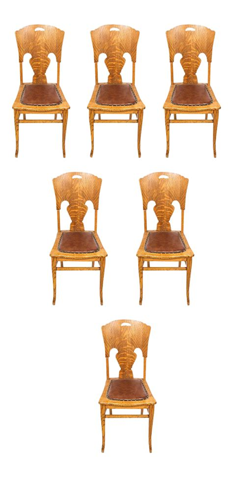 Tiger Oak Dining Chairs Antique Tiger Oak Dining Chairs Set Of 6 Chairish