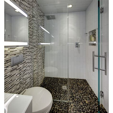 Modern Showers Small Bathrooms Modern Small Bathroom With River Rock Floor In Curbless Shower 4x16 Vertical White Tile And