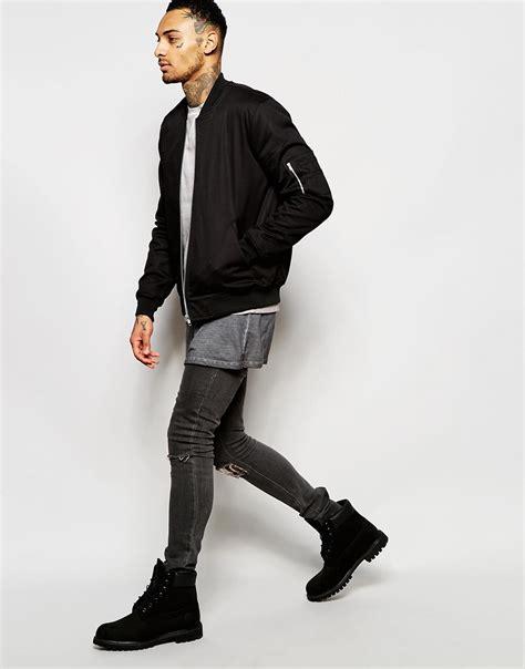Jaker Hoodie Outerwear Jaket Bomber Hoodie lyst asos bomber jacket in black black in black for
