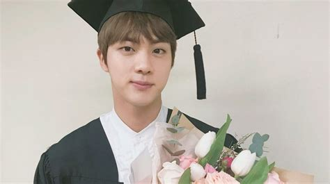 bts university bts celebrates jin s graduation from university soompi
