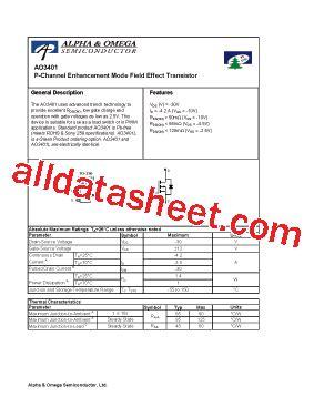 transistor a2shb datasheet ao3401 datasheet pdf alpha omega semiconductors