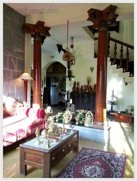 beautiful indian home interiors the antique pillars have been incorporated in such a way