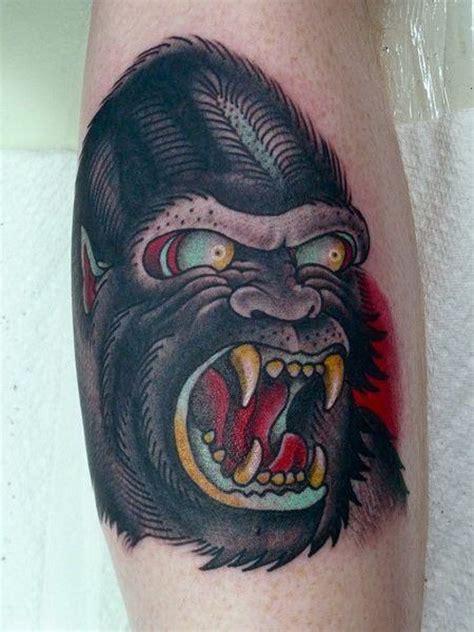 tattoo of us gorilla tatuaje de gorila sanguinario old school tattooimages biz