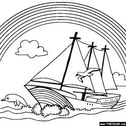 Rainbow Sailboat Coloring Pagegif sketch template