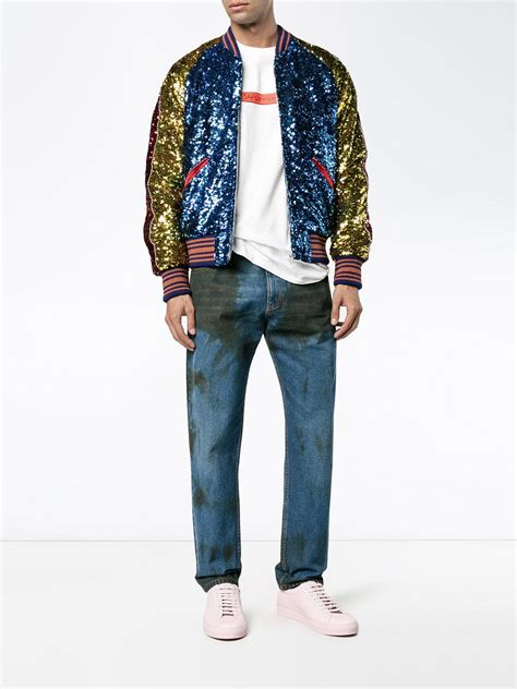 Jaket Fashion Gucci 5 gucci loved sequin bomber jacket in blue for lyst