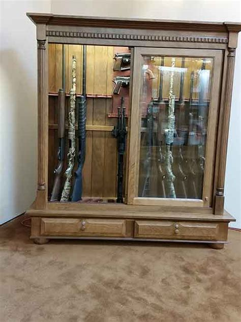 ar 15 gun cabinet amish custom crafted combo low profile 16 gun cabinet