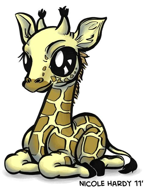 Cute Baby Giraffe Cartoon   Here is a baby giraffe as part