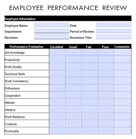 employee performance review template free performance evaluation 9 free documents in pdf