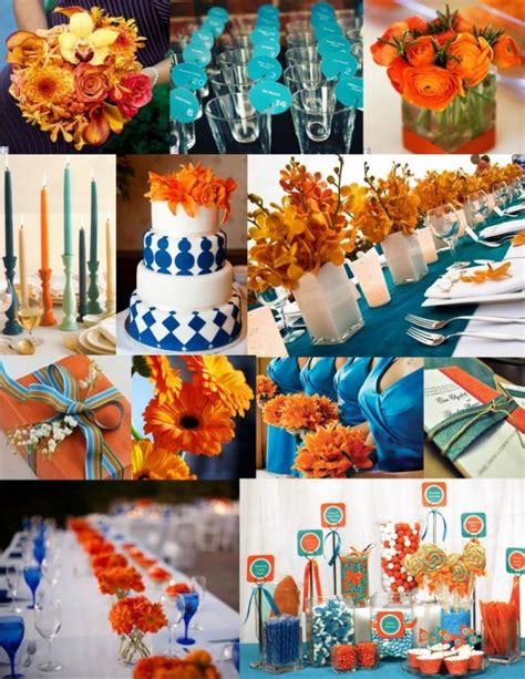 blue and orange decor festive blue and orange wedding ideas wedding color