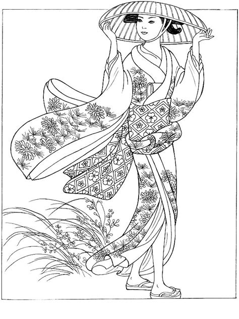 coloring pages of women s hats japan coloring pages for adults coloring japonese