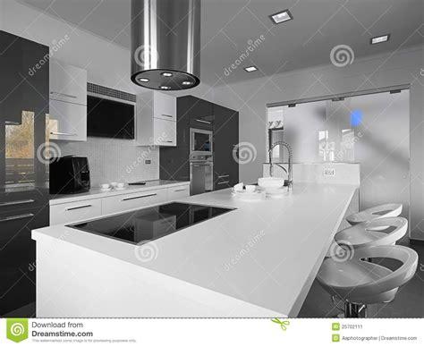 imagenes en blanco y negro modernas cocina moderna en un blanco y negro imagen de archivo