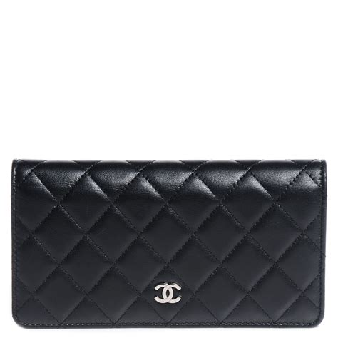Chanel Quilted Wallet by Chanel Lambskin Quilted Yen Wallet Black 80598