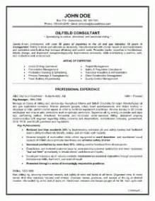 Canadian Sle Resume by Exle Of A Oilfield Consultant Resume Sle