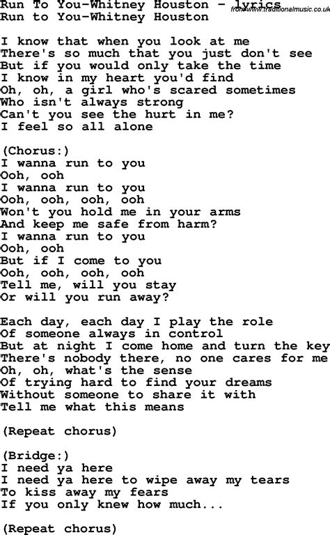 run to you love song lyrics for run to you whitney houston