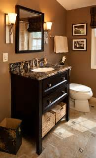 brown bathroom decor wallner builders traditional powder room other metro