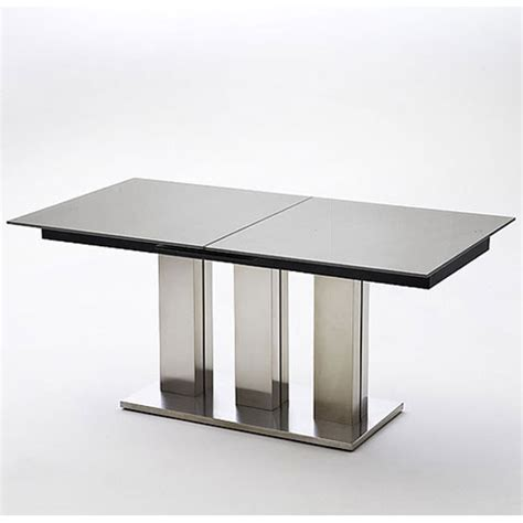 Glass Extending Dining Table Blaine Extending Glass Dining Table In Black With Metal Base