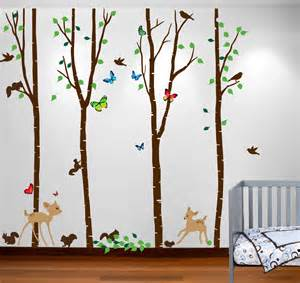 bambi wall stickers birch tree forest set with deer and flying birds bambi
