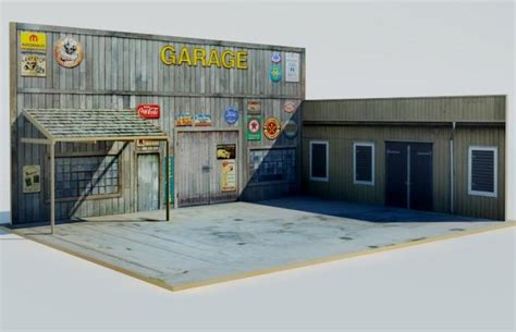 1 64 Scale Garage Diorama by Papermau The Garage Diorama Paper Model Tutorial With