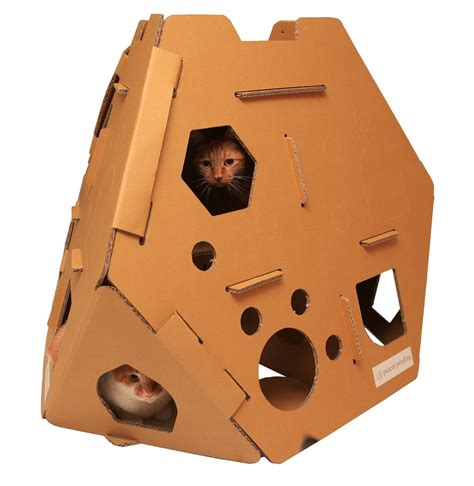 cardboard cat house cardboard cat house cat scratcher play house could be more great idea meow cat com