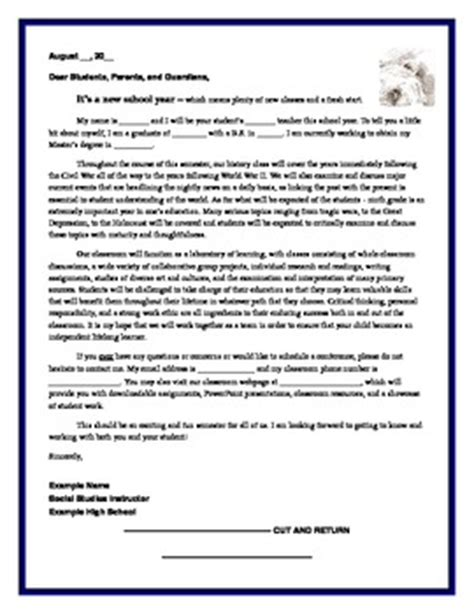 Introduction Letter From To Parents Student Letter Of Recommendation Jonathan Teacherspayteachers