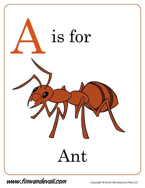 A For a is for ant printable tim de vall