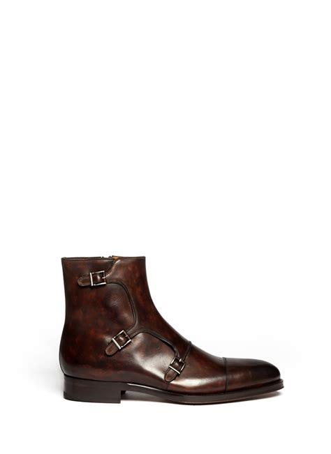 monk boots mens lyst saks fifth avenue leather monk buckle boots