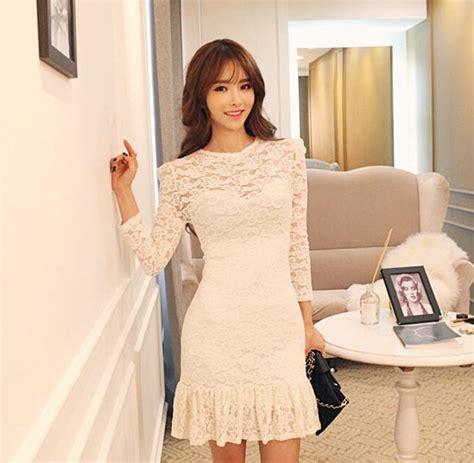 Dress Putih Lengan Panjang Polkadot Hitam Import Korea Fit To L dress brukat putih lengan panjang cantik model terbaru jual murah import kerja